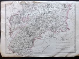 Weekly Dispatch C1860 Antique Map. Worcestershire and Gloucestershire, UK
